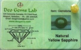 4.27 Ct. Satyamani Certified Natural Yellow Sapphire Gemstone