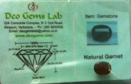 6.12 Ct. Satyamani Certified Natural Garnet Gemstone