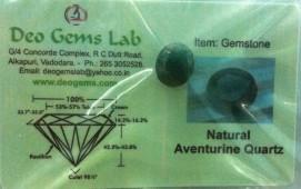 5.31 Ct. Satyamani Certified Natural Aventurine Quartz Gemstone