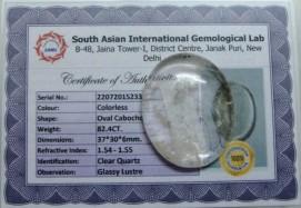 82.4 Cts Satyamani Clear Quartz / Spathik Certified Loose Gemstone For Reiki Chakra Healing