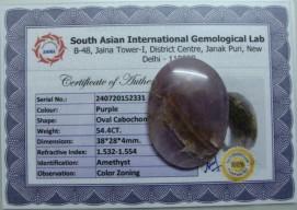 54.4 Cts Satyamani Natural Amethyst Certified Loose Gemstone For Reiki Chakra Healing