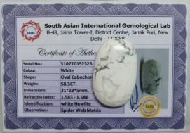 58.5 Cts Satyamani Natural White Howlite Certified Loose Gemstone For Reiki Chakra Healing