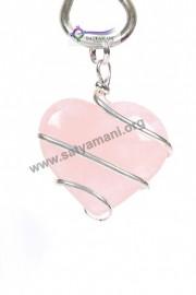 Satyamani Rose Quartz Wrapped Heart Energy Pendant