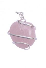Satyamani Rose Quartz Tumble Gemstone Crystal Pendant