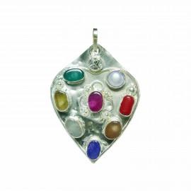 Satyamani Natural Navgrah Gemstone Heart Pendant
