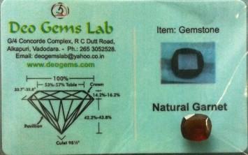 4.10 Ct. Satyamani Certified Natural Garnet Gemstone