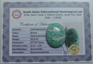 35.2 Cts Satyamani Natural Amazonite Certified Loose Gemstone For Reiki Chakra Healing